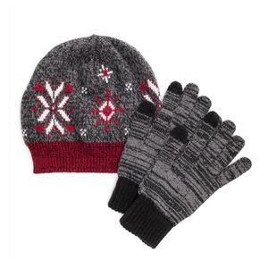 MUK LUKS Red Gray Beanie Touchscreen Gloves Set